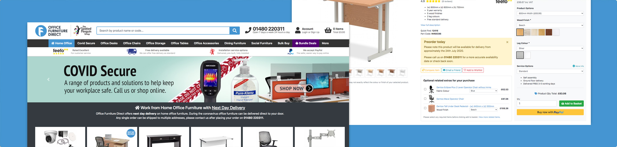 Order your furniture online from NAOS's eCommerce partner, Office Furniture Direct